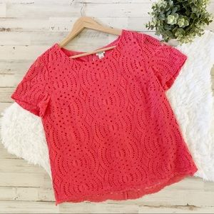 J. Crew Factory Coral Lace Eyelet Scallop Top 12
